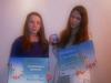 Анастасия Чадий (похвальная грамота) и Карина Лях (медаль) победительницы 40-й Международной выставки детского творчества «Лидице»