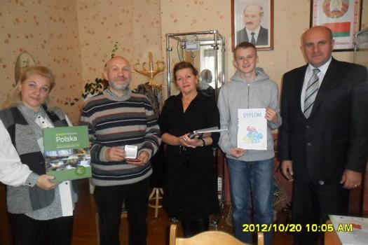 Богдан Мазуркевич – получил награду из рук советника по культуре посольства Республики Беларусь в Республике Польша В.М.Черника