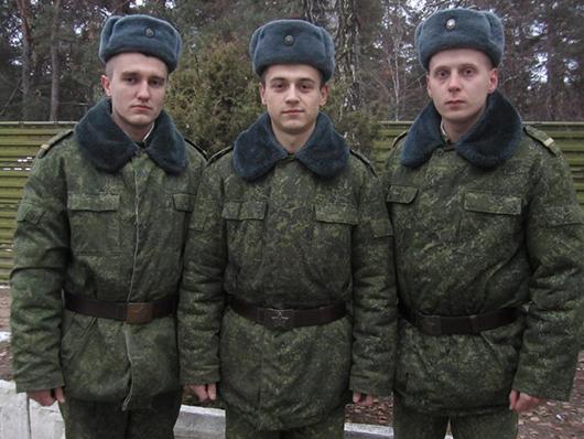 Ефрейтор Байда, младший сержант Токмаков и ефрейтор Буглак.