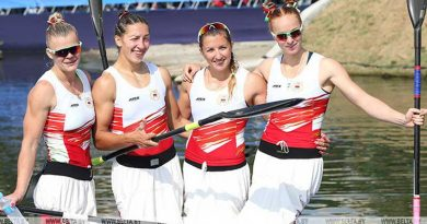 На чемпионате Беларуси по гребле определились призеры в гонках байдарок-четверок на дистанции 500 м